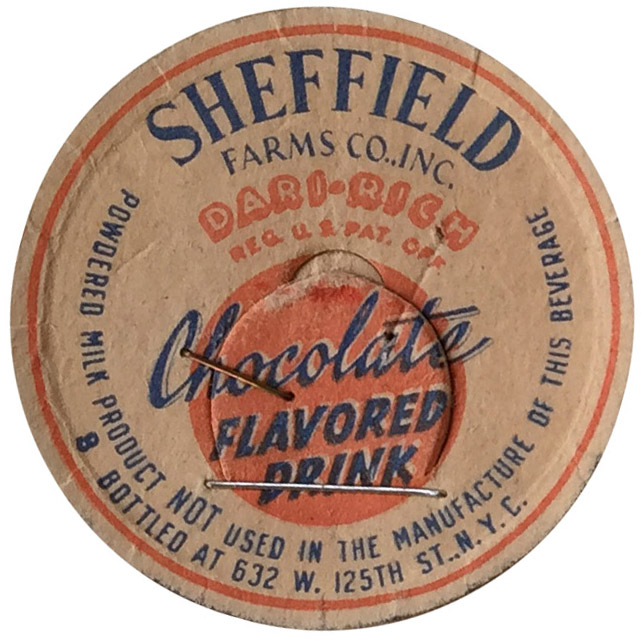 Chocolate milk cap,1936. Department of Health collection, NYC Municipal Archives.