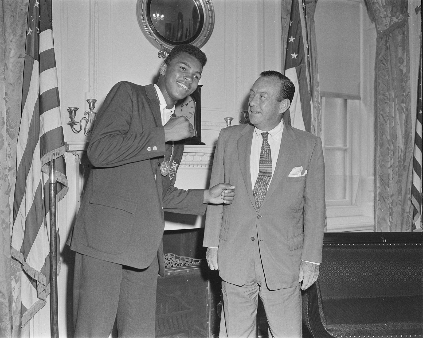 Mayor Wagner greeted Muhammed Ali, then known as Cassius Clay, the light heavyweight champion at City Hall on September 9, 1960. Official Mayoral Photographs, NYC Municipal Archives.