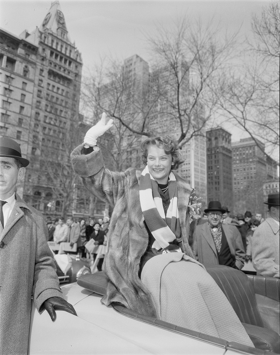 Carol Heiss arriving at City Hall, March 9, 1960. Official Mayoral Photographs, NYC Municipal Archives.