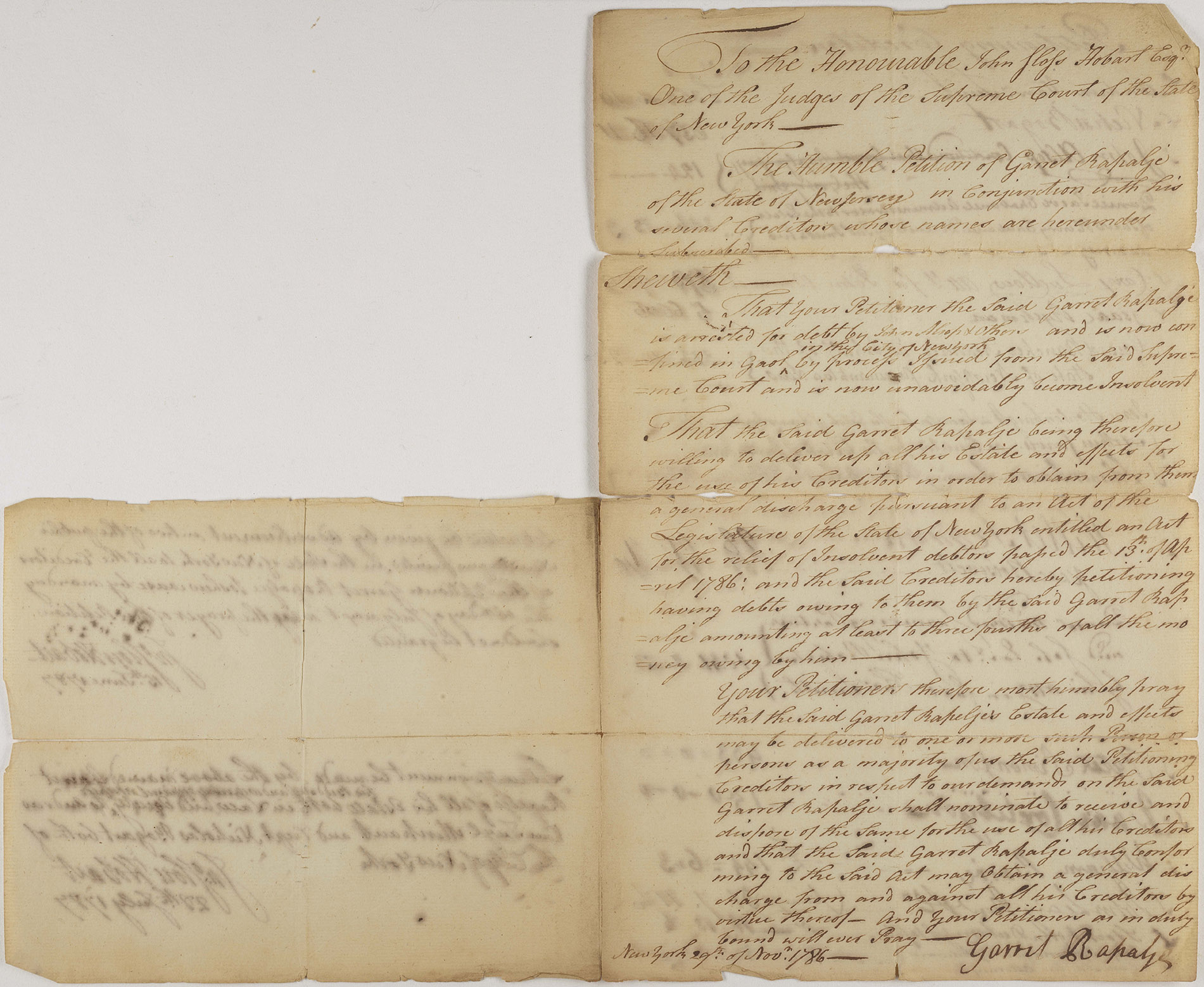 Petition of Garret Rapalje and his creditors to Judge John Sloss Hobart, signed by Garret Rapalje, 1786. NYC Municipal Archives.