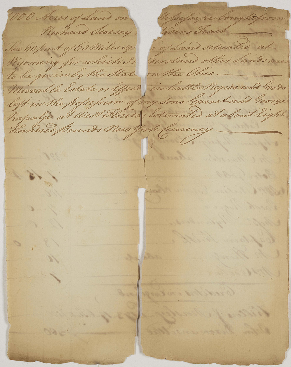 "This account and inventory of real estate and personal estate of Garret Rapalje: ""Moveable Estate of Effect in Cattle Negros Goods,"" 1787, provides evidence that Garret Rapalje was engaged in the enslavement of people at the time of his insolvency petition. He would soon after move to his plantation in what is now Louisiana."