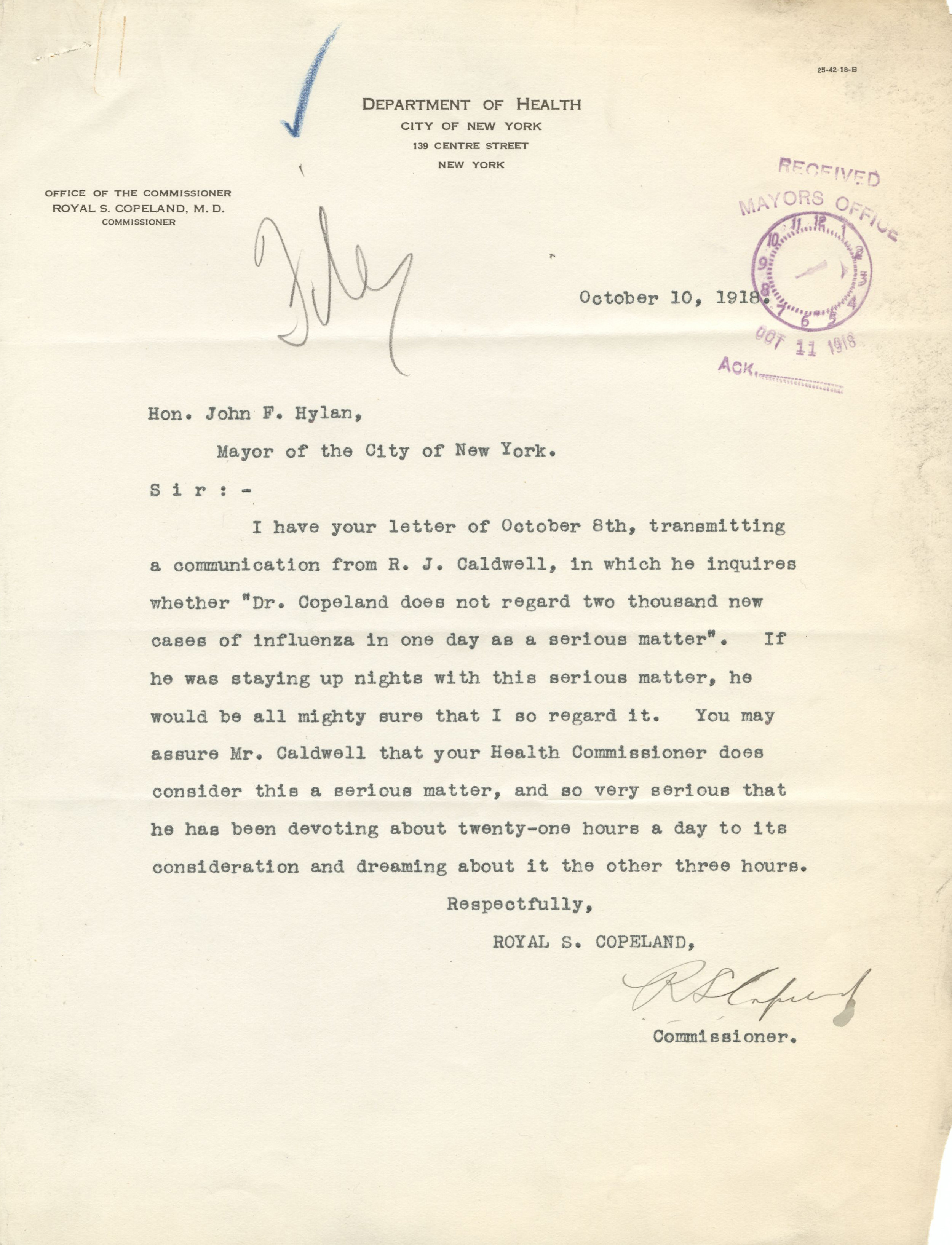 Letter from Dept. of Health Commissioner Copeland to Mayor Hylan, October 10, 1918. Mayor Hylan Papers, NYC Municipal Archives.