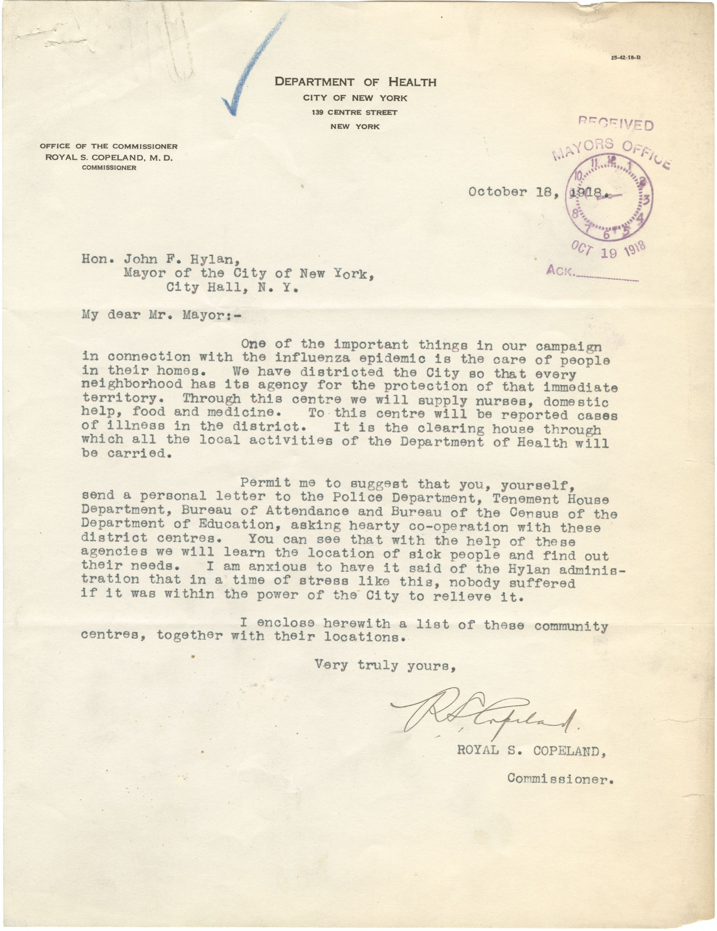 Letter from Dept. of Health Commissioner Copeland to Mayor Hylan, October 18, 1918. Mayor Hylan Papers, NYC Municipal Archives.