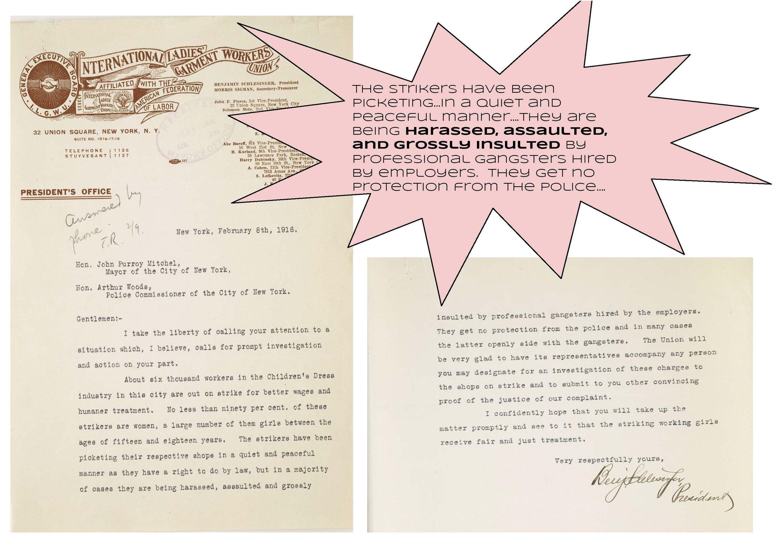 International Ladies' Garment Workers Union, 1916, Mayor John P. Mitchel Subject Files