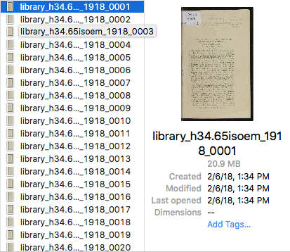 File naming in action. In this instance, the filenames let us know that the item is from the Municipal Library, its call number, the date it was published, and which page each photo shows.