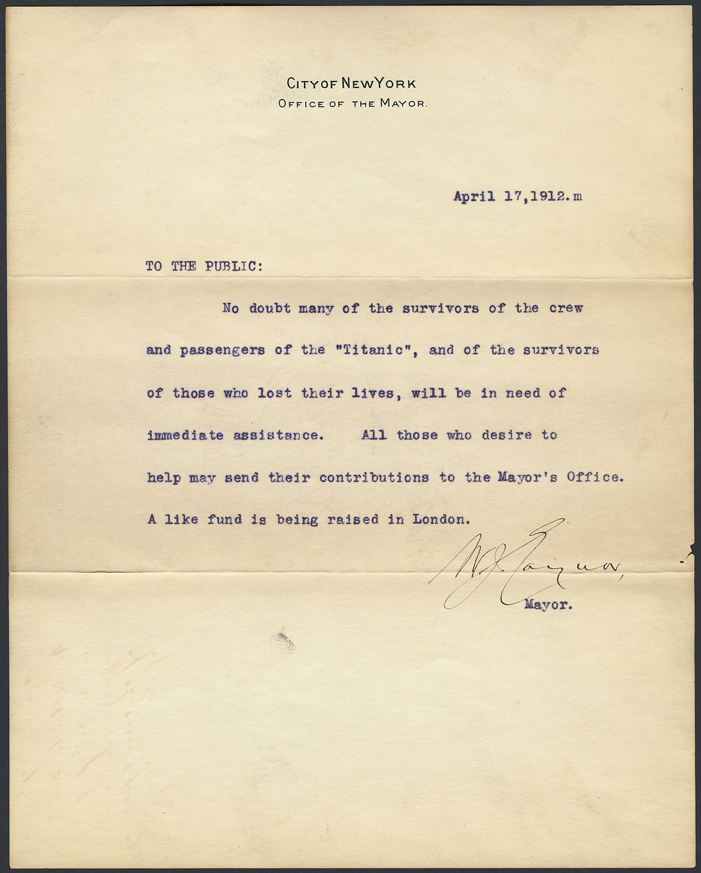 Statement form Mayor William J. Gaynor concerning the relief for Titanic survivors, April 17, 1912. Mayor Gaynor Subject Files-Titanic Disaster Relief Fund-roll 10, NYC Municipal Archives.