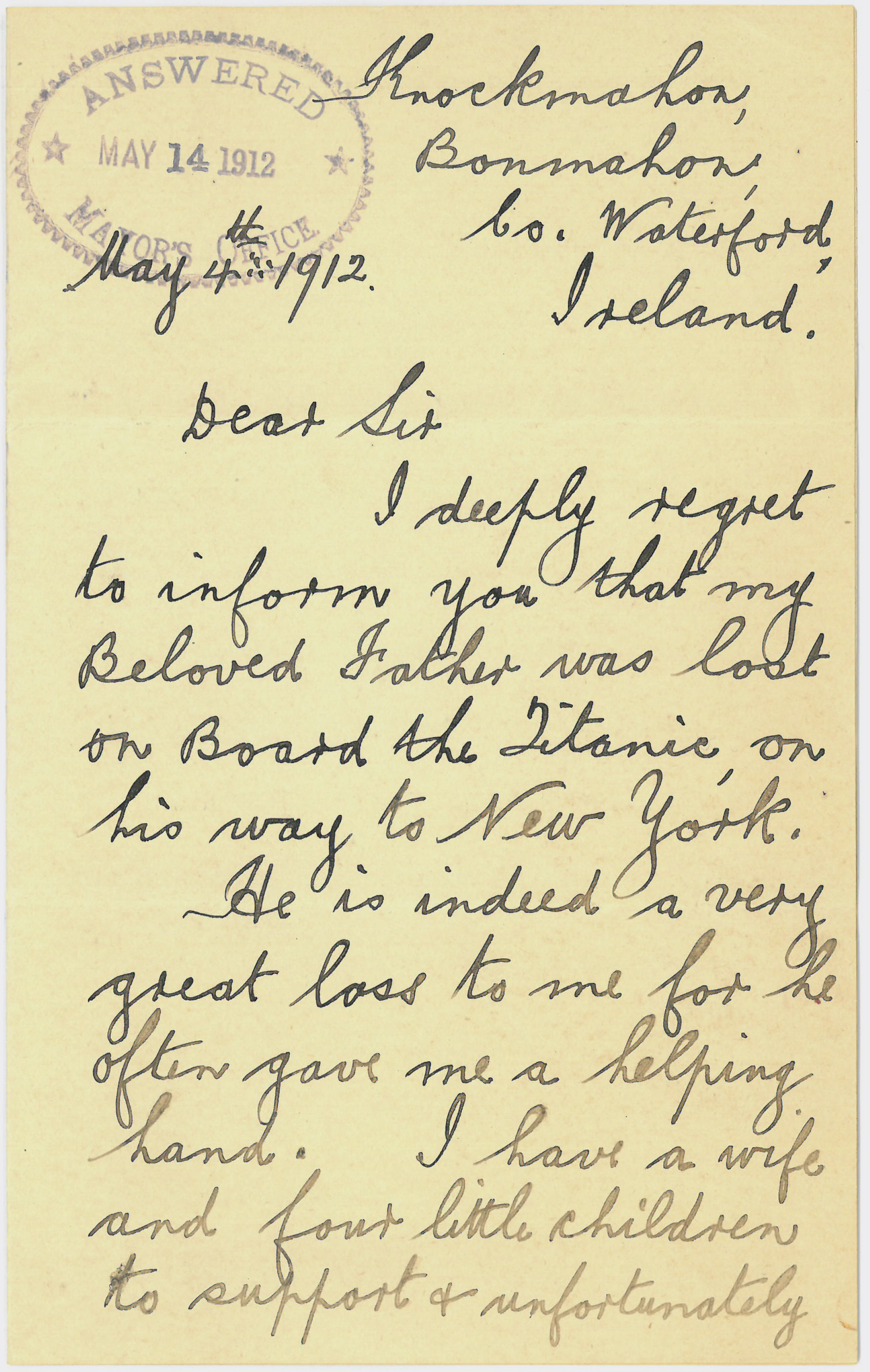 Letter asking for support from the Titanic relief fund, May 4, 1912. Mayor William J. Gaynor Subject Files-Titanic Disaster Relief fund-Aid Requests, roll 10, NYC Municipal Archives.
