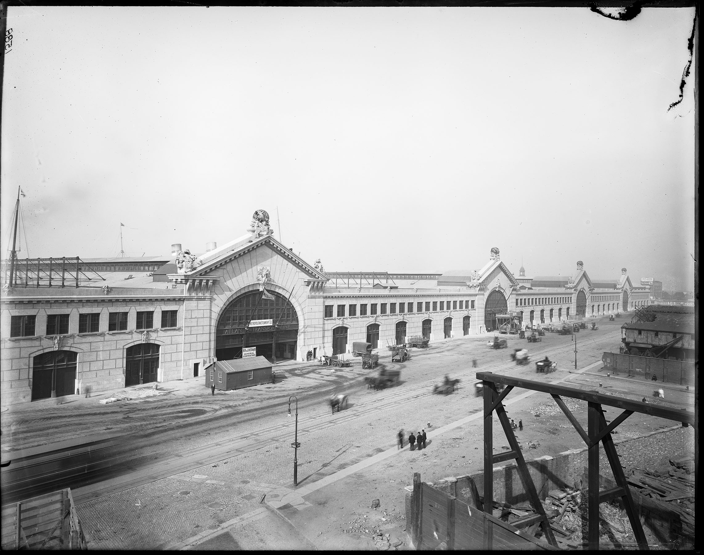Construction of the Chelsea Piers is well-documented in the Archives' Department of Docks & Ferries glass-plate negative collection. View along 12th Avenue, ca. 1908.