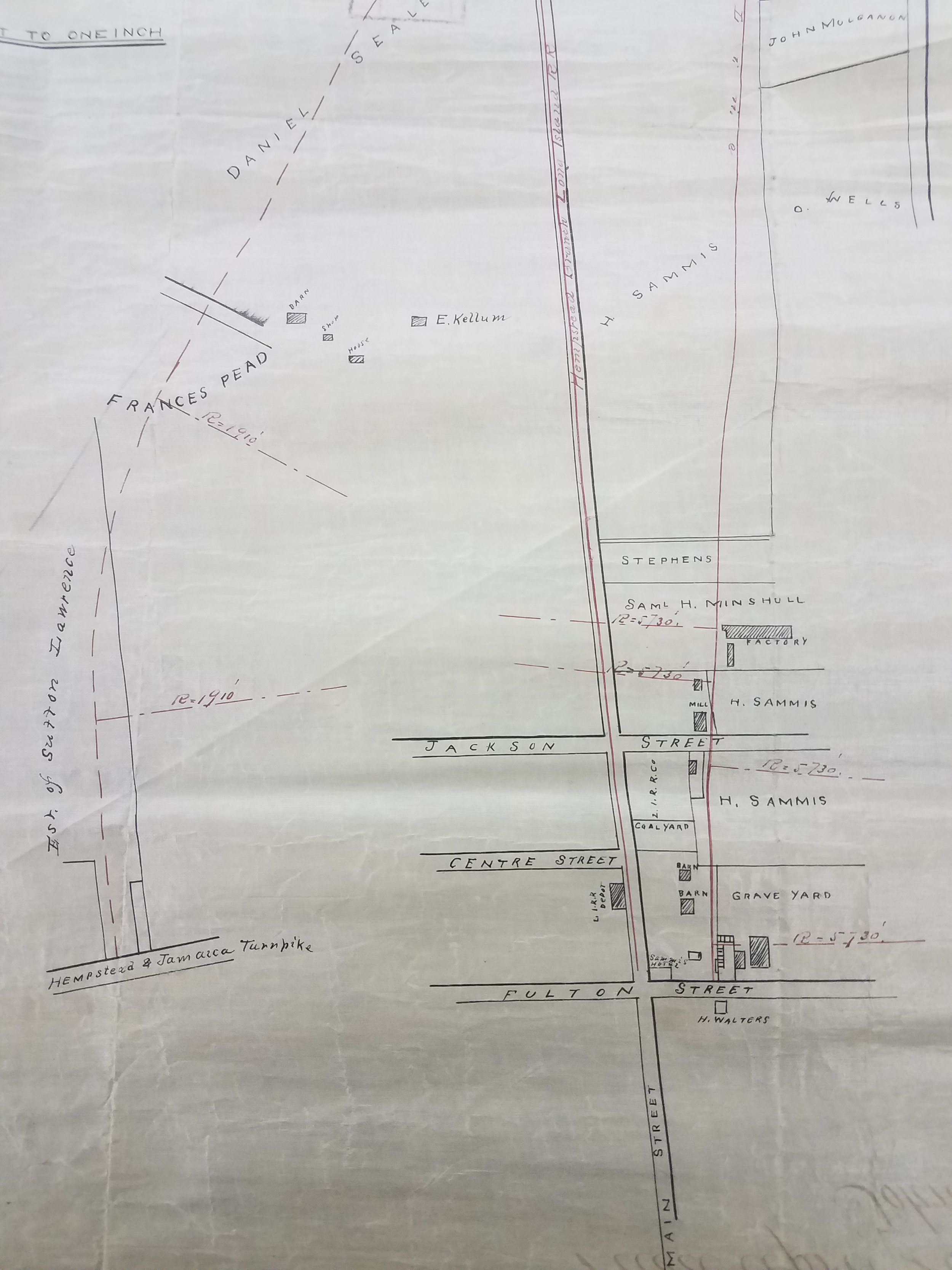 Map of Branch of the Central R.R. of L.I. Leading from Garden City to the Village of Hempstead, 1872. City Register collection, NYC Municipal Archives. The graveyard noted in the bottom-right is now in the vicinity of Denton Green Park, Hempstead.