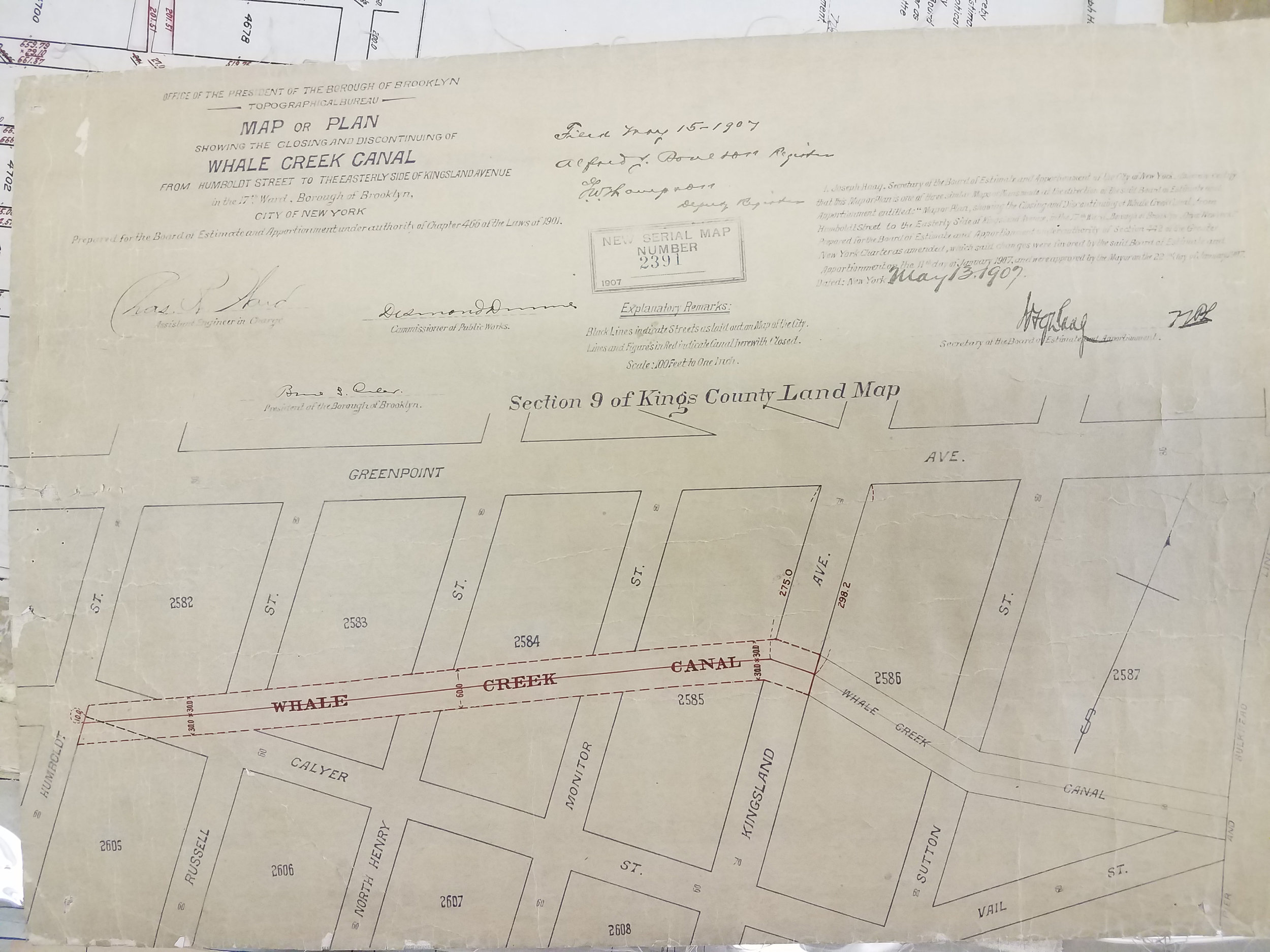 Map or Plan Showing the Closing and Discontinuing of Whale Creek Canal From Humboldt Street to the Easterly Side of Kingsland Avenue, 1907. City Register collection, NYC Municipal Archives.