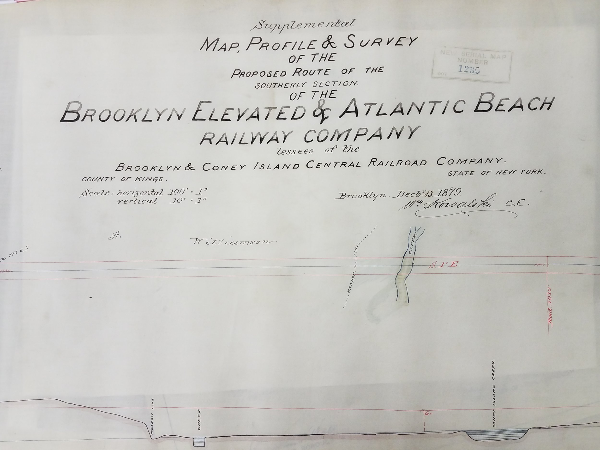 Supplemental Map, Profile and Survey of the Proposed Route of the Southerly Section of the Brooklyn Elevated and Atlantic Beach Railway Company, 1879. City Register collection, NYC Municipal Archives.
