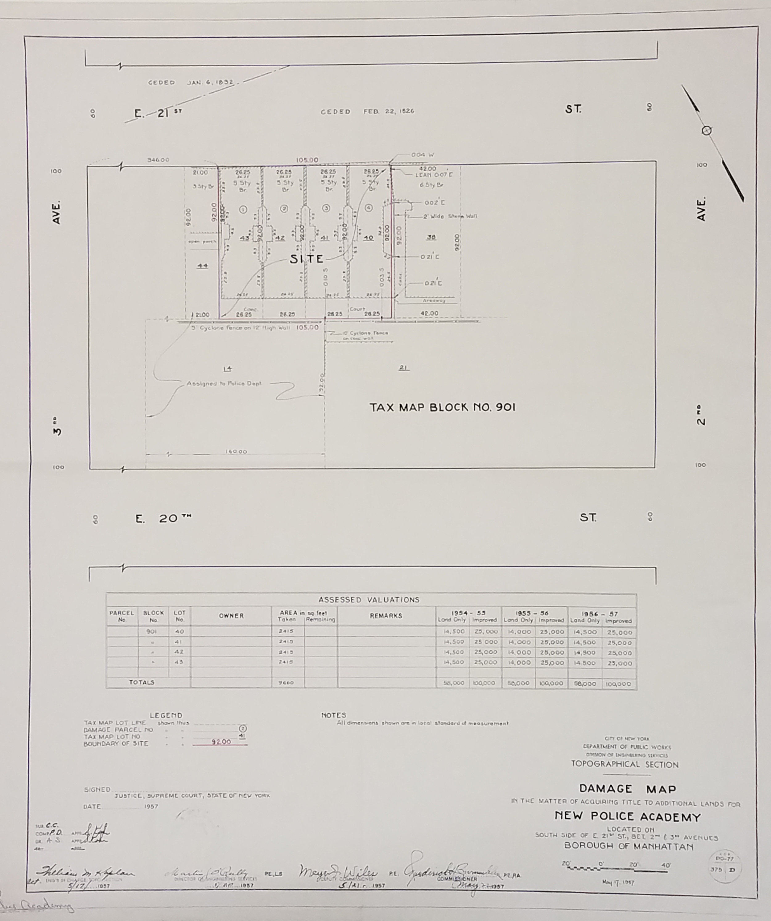 Damage Map in the Matter of Acquiring Title to Additional Lands for New Police Academy, 1957. Board of Estimate and Apportionment collection, NYC Municipal Archives.