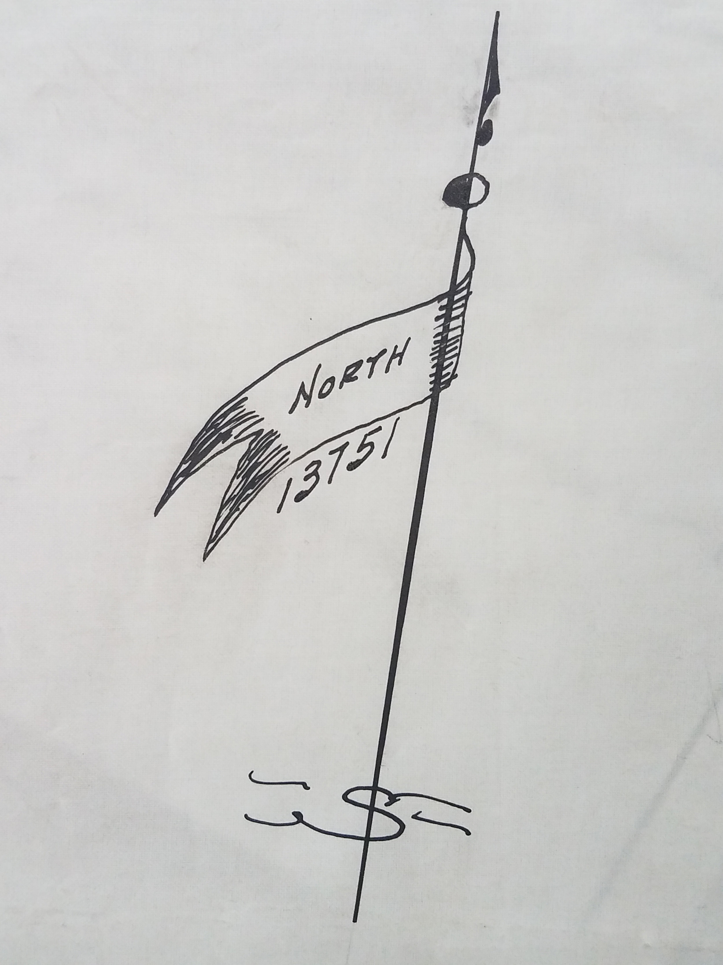 Compass rose from a Damage Map belonging to the Board of Education, 1940. From the collection of the Board of Estimate and Apportionment, NYC Municipal Archives.