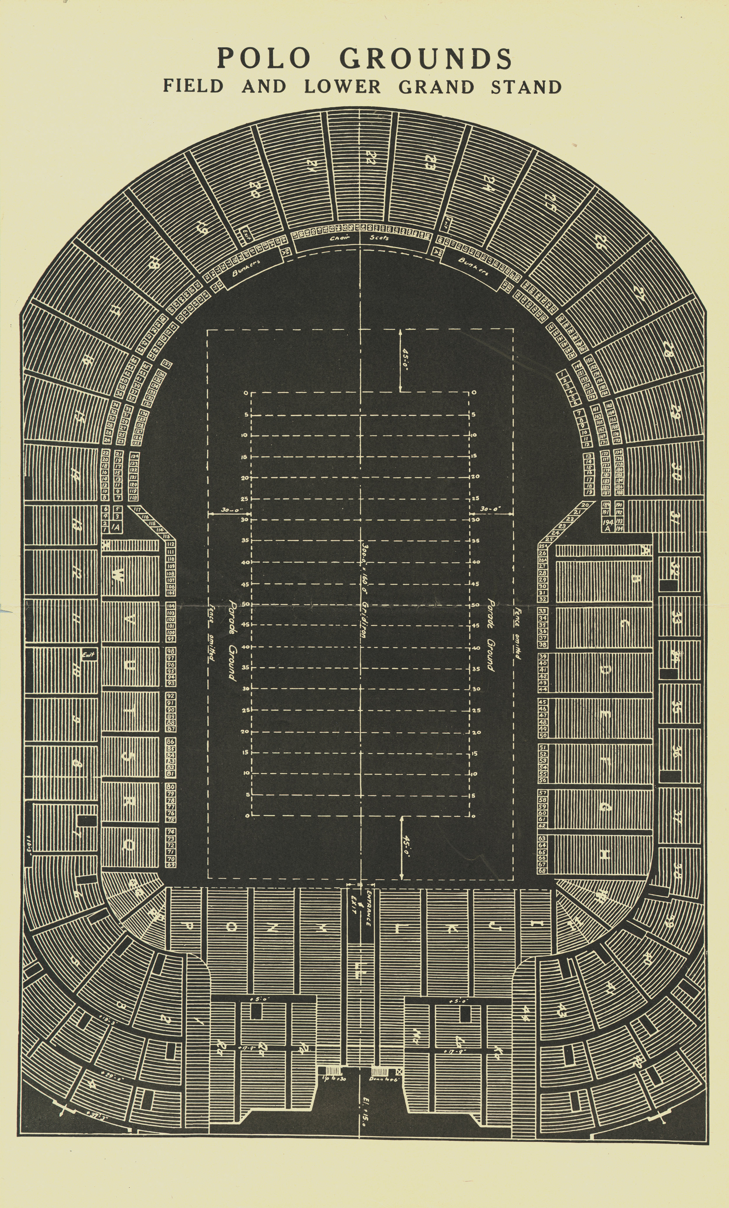 Seating chart for the third Polo Grounds, ca. 1930s. New York City Municipal Archives Collections.