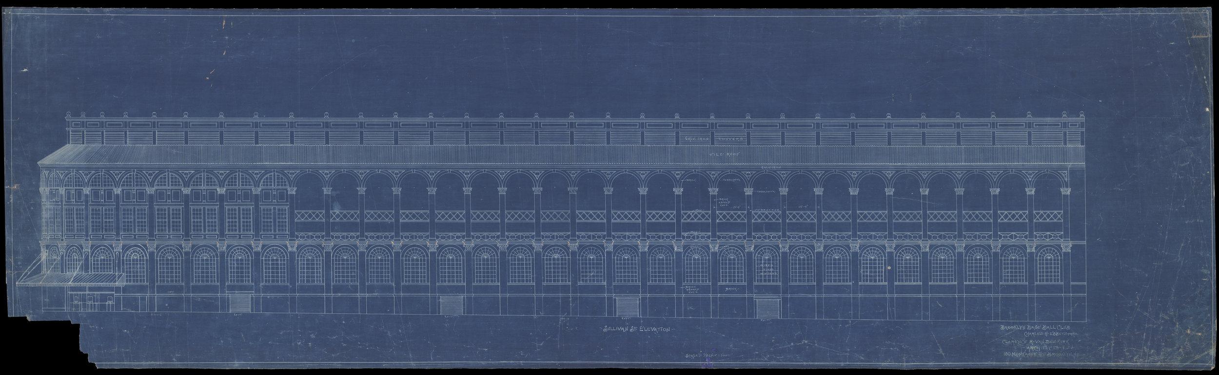 Sullivan Street Elevation, Brooklyn Base Ball Club [Ebbets Field], Clarence R. Van Buskirk, 1912.