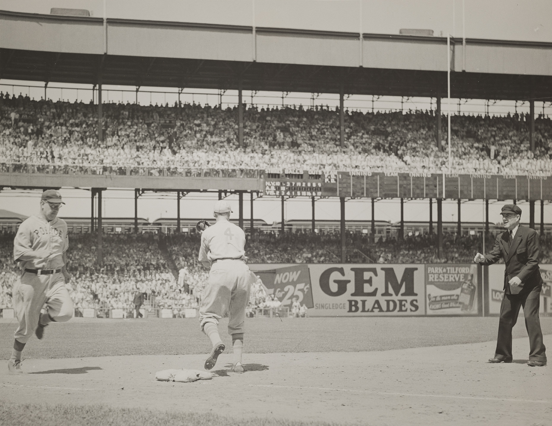 Police vs. Fire Department baseball game, Polo Grounds, 1940s. NYC Municipal Archives Collections.