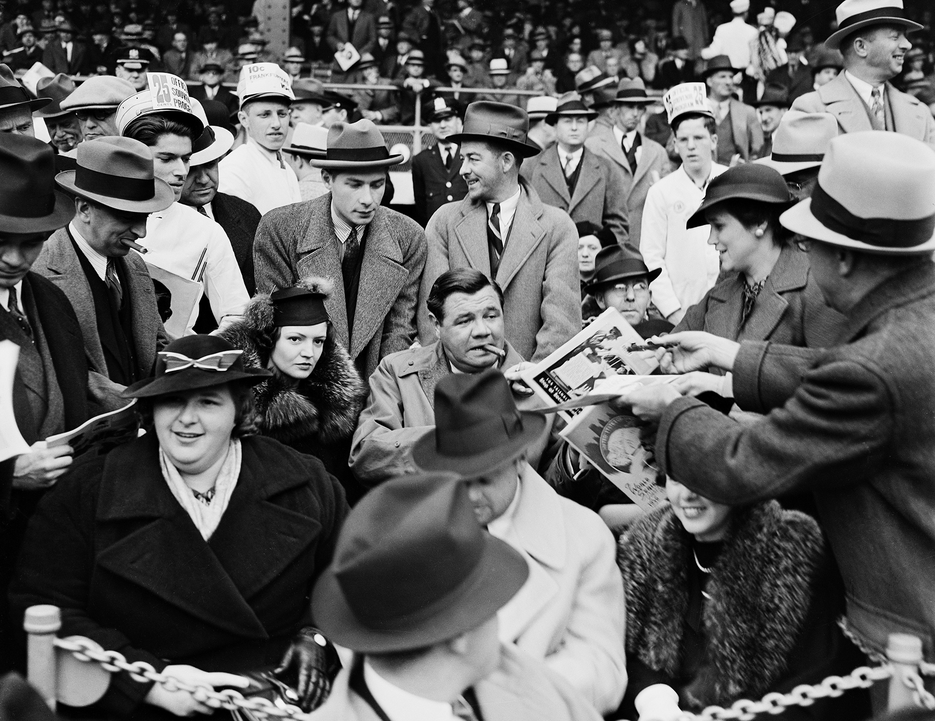 1936 World Series, singer Kate Smith (front left) and Babe Ruth (center) with his wife Claire Merritt Ruth in special seats in front of grandstand, September 1936. WPA Federal Writers' Project, NYC Municipal Archives.