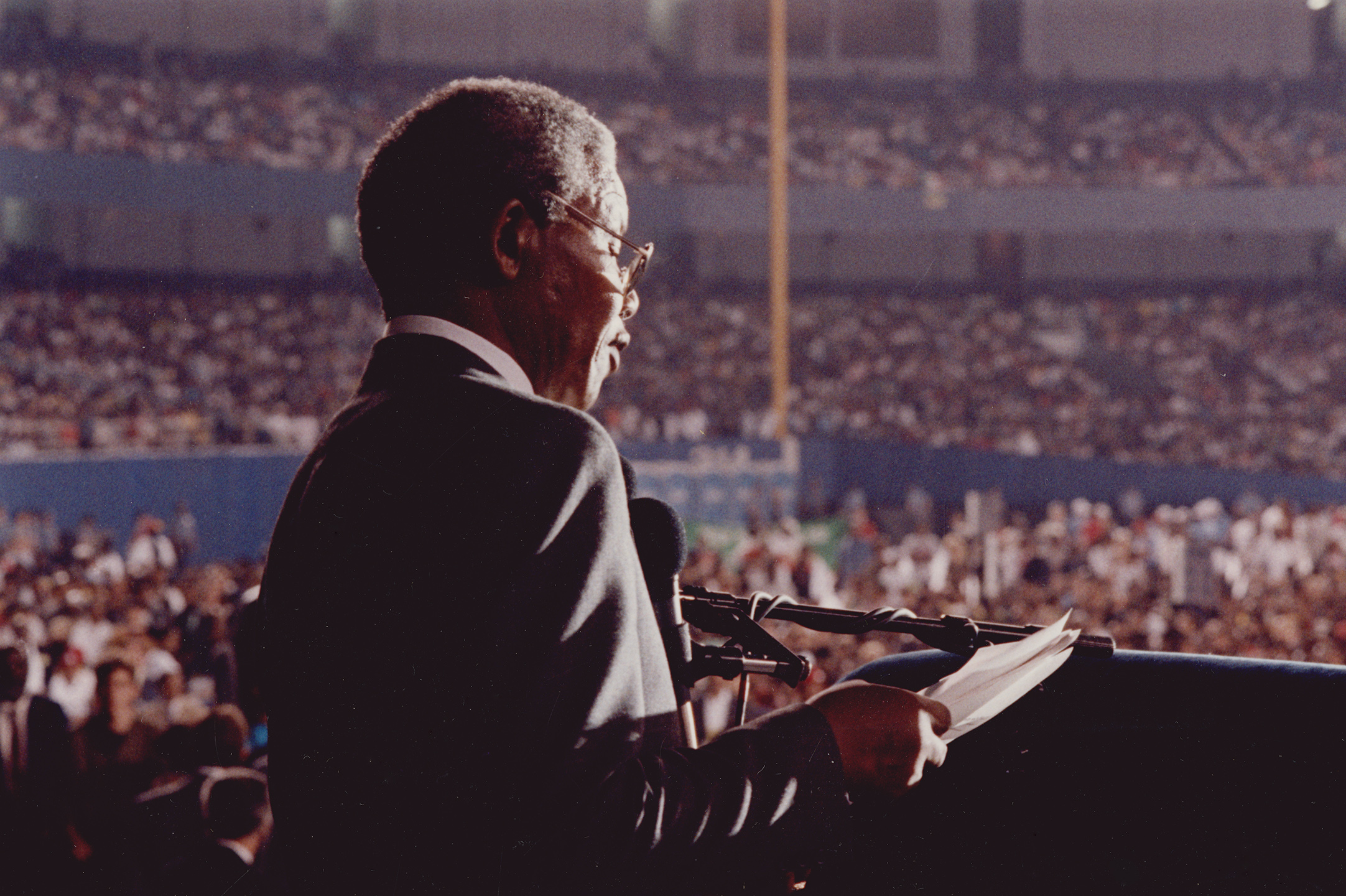Nelson Mandela at Yankee Stadium, June 21, 1990. Mayor Dinkins Collection, NYC Municipal Archives.