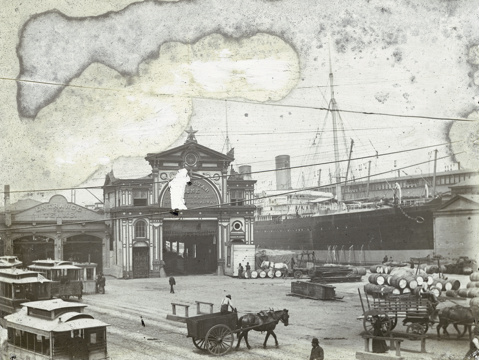 """deg_21: Pier 44, White Star Line, Christopher Street """"Entrance for Teams,"""" ca. 1880. Photo by W.T. Colbron, DeGregario Collection, NYC Municipal Archives."""