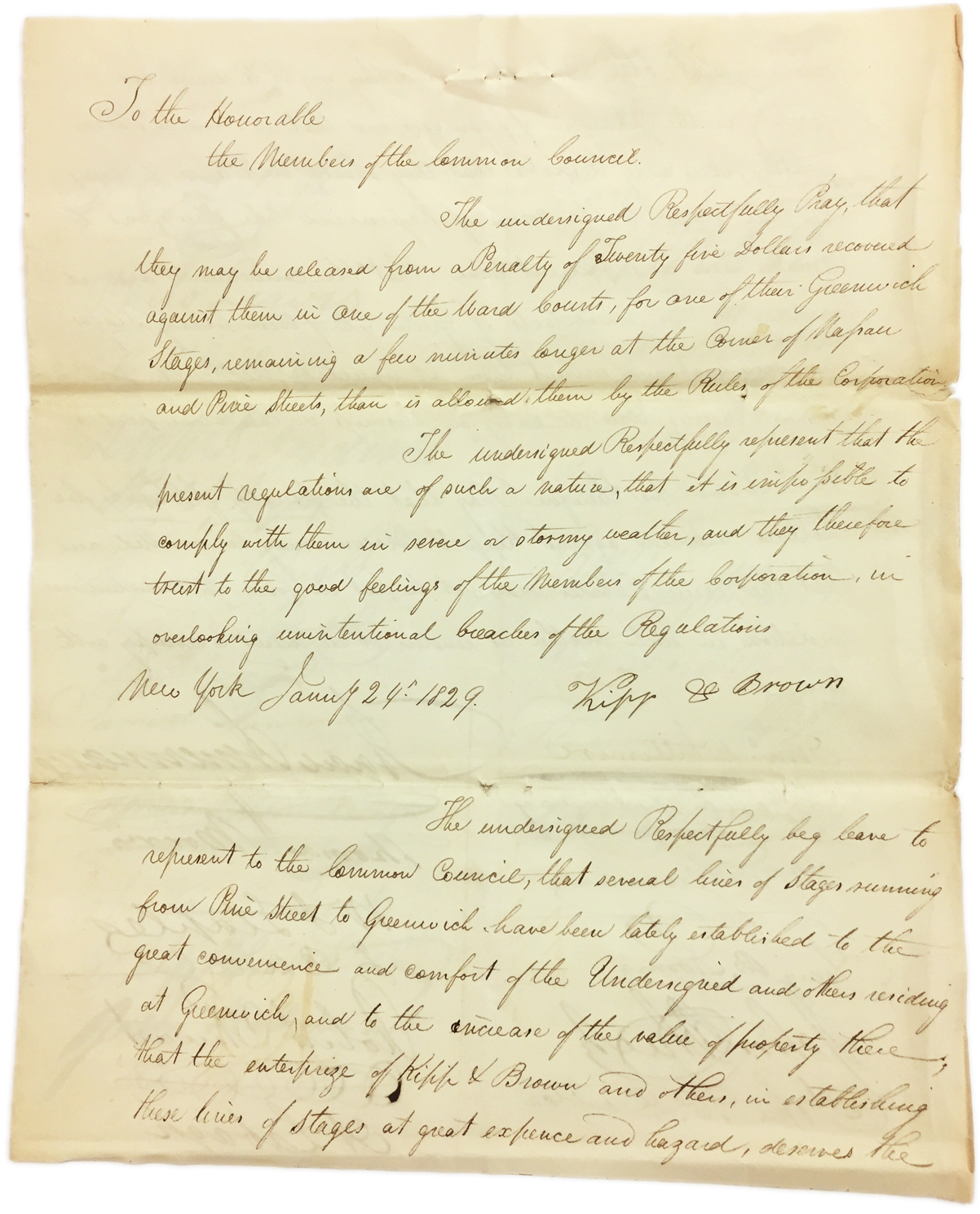 Petition of Kip & Brown, January 24, 1829, Common Council Papers, NYC Municipal Archives.