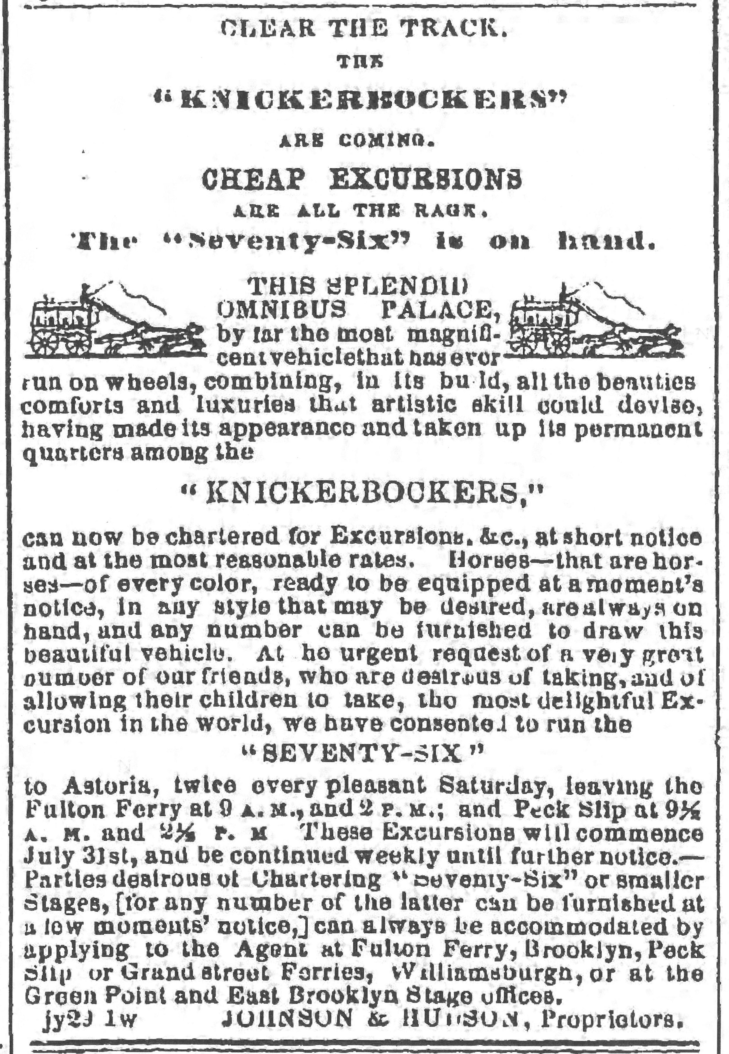 Omnibus Advertisement, August 7, 1852,  The Brooklyn Daily Eagle