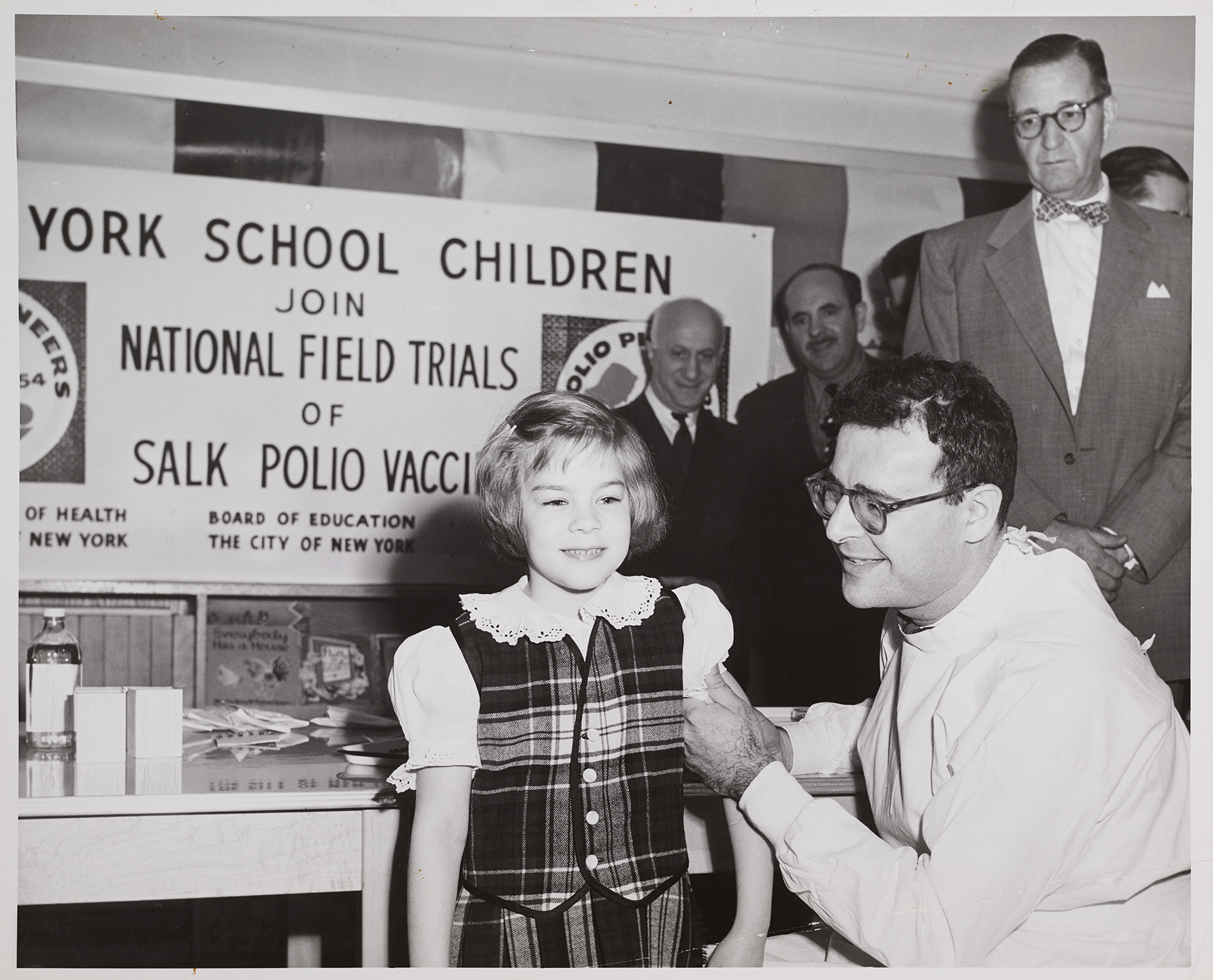 Girl gets injection as part of National Foundation for Infantile Paralysis vaccine testing, undated. Department of Health Collection, NYC Municipal Archives.