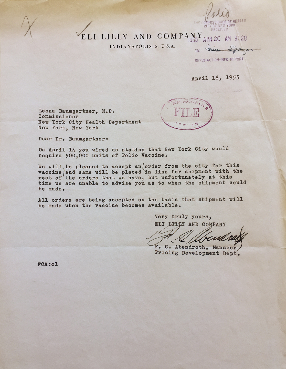 Letter from pharmaceutical manufacturer Eli Lilly confirming Commissioner Baumgartner's order for 500,000 units of the polio vaccine. Department of Health Collection, NYC Municipal Archives.