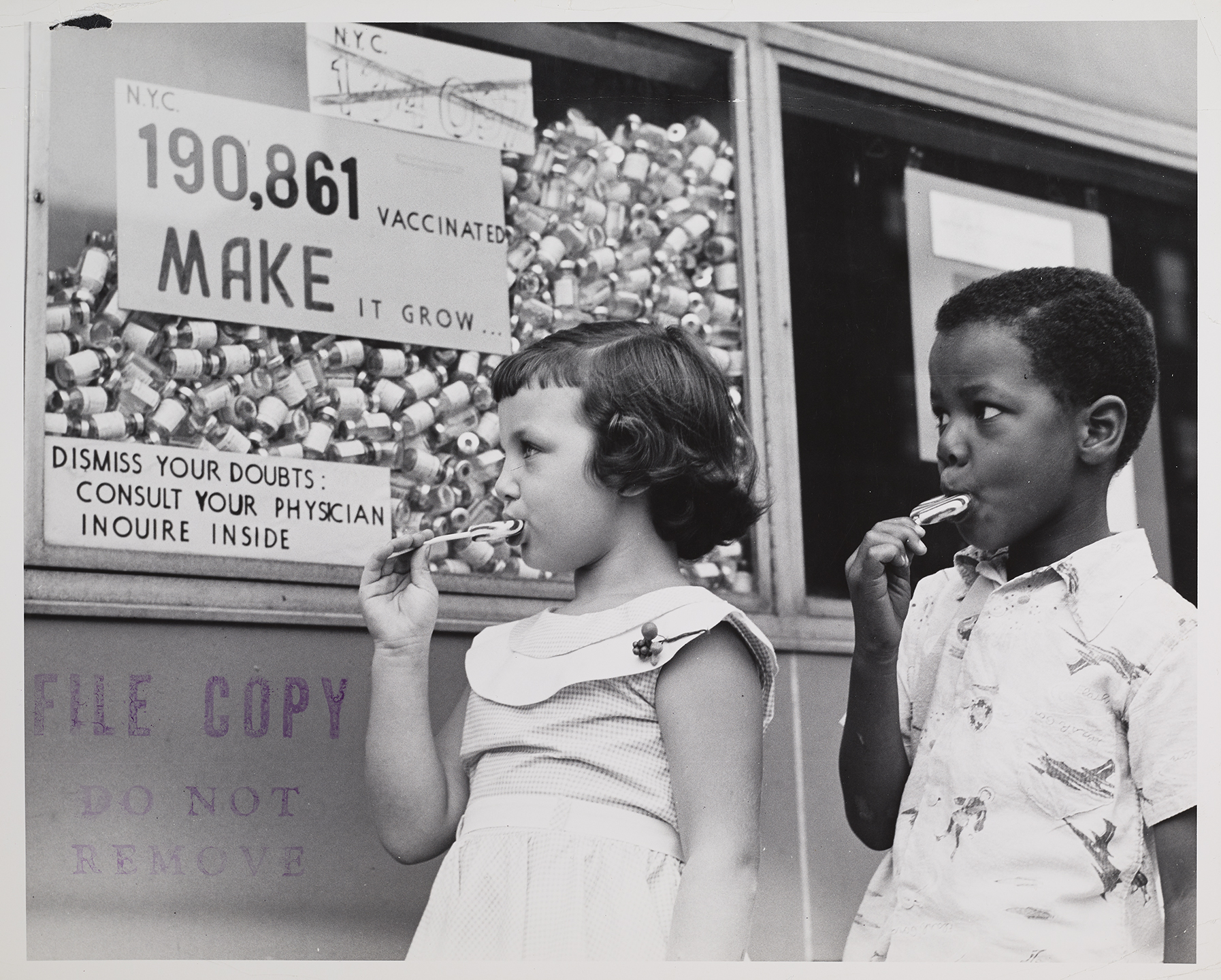 Polio display, Jamaica Health Center, August 31, 1955. Department of Health Collection, NYC Municipal Archives.