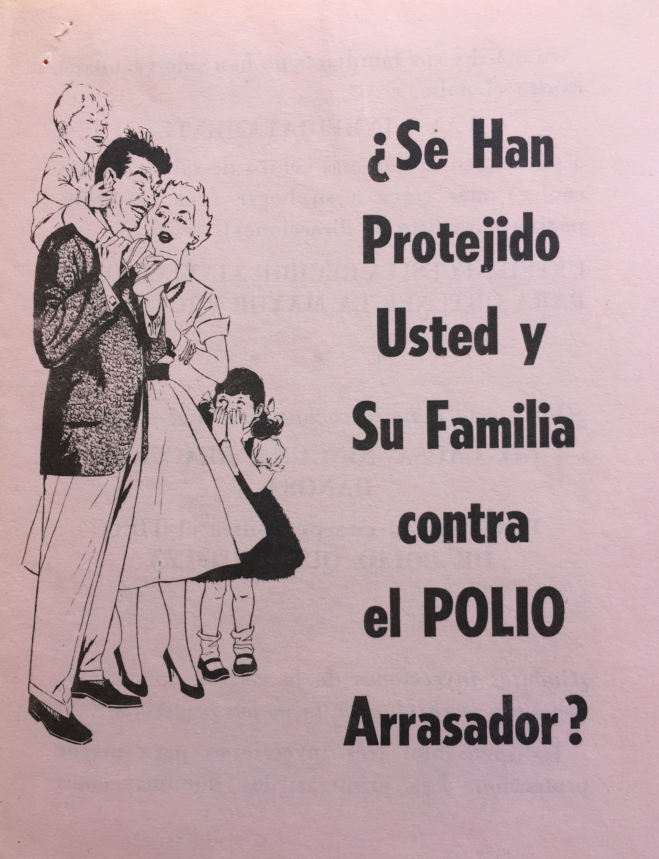 Cover of Spanish-language informational pamphlet about the polio vaccine from 1959. Department of Health Collection, NYC Municipal Archives.