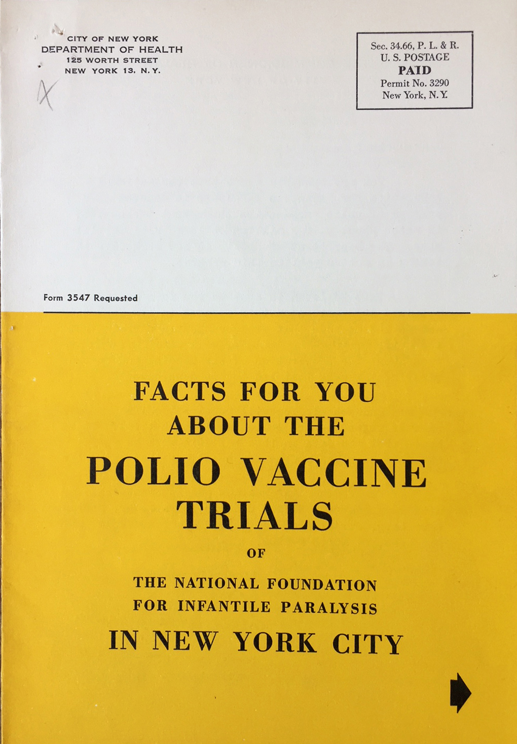 Department of Health mailer from 1954 explaining the vaccine testing. Department of Health Collection, NYC Municipal Archives.