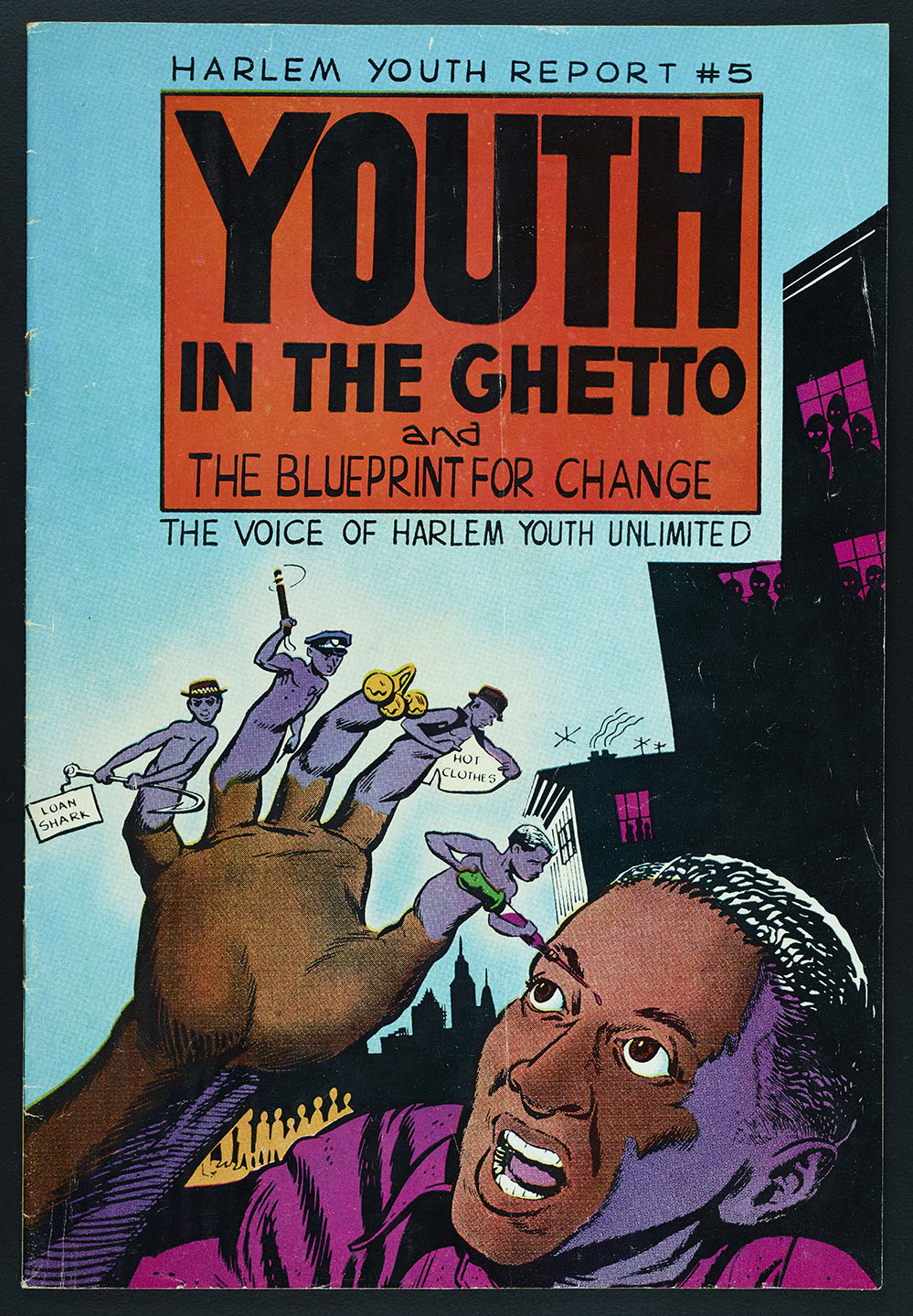 Harlem Youth Report , a pamphlet from HARYOU in comic book form. NYPD Intelligence Division Records, NYC Municipal Archives.