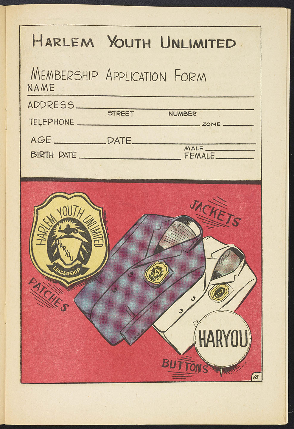 Membership application from  Harlem Youth Report . NYPD Intelligence Division Records, NYC Municipal Archives.