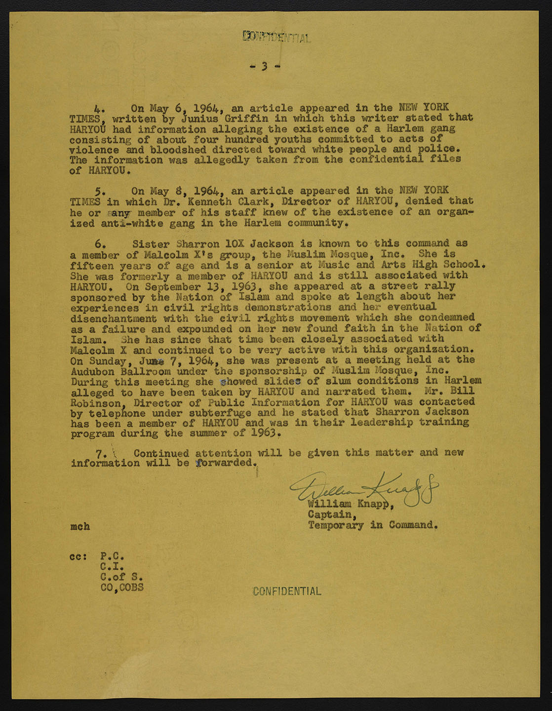 Letter from commanding officer of BOSS to the Chief of Detectives on members of HARYOU. NYPD Intelligence Division Records, NYC Municipal Archives.