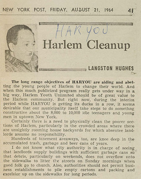 Langston Hughes column in the  New York Post  discussing the virtues of HARYOU, collected by the NYPD Intelligence Division. At the time, the  Post  was a liberal newspaper. NYPD Intelligence Division Records, NYC Municipal Archives.