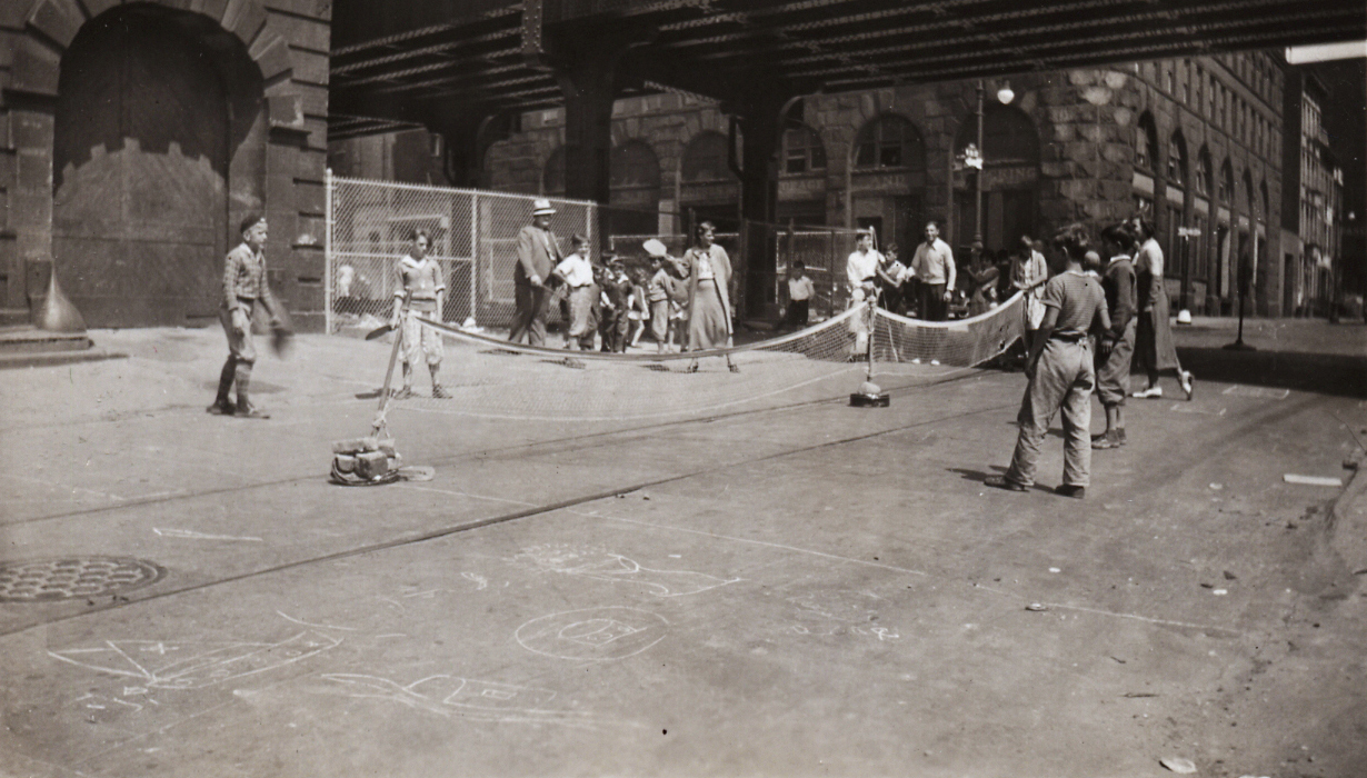 Paddle tennis games on a play street, ca. 1935. NYC Municipal Archives Collection.