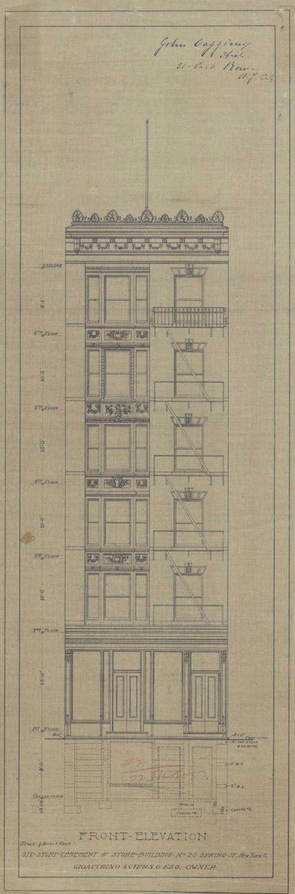 Six-Story Tenement & Store, Building No. 20 Spring Street, Front Elevation, 1905. John Caggiano, Architect. Department of Buildings Collection, NYC Municipal Archives.