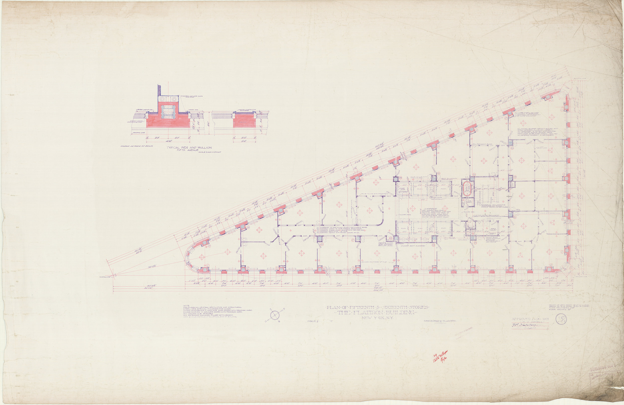 Plan of Fifteenth & Sixteenth Stories, The Flatiron Building, 1901. D.G. Burnham & Co. Architects. Department of Buildings Collection, NYC Municipal Archives.