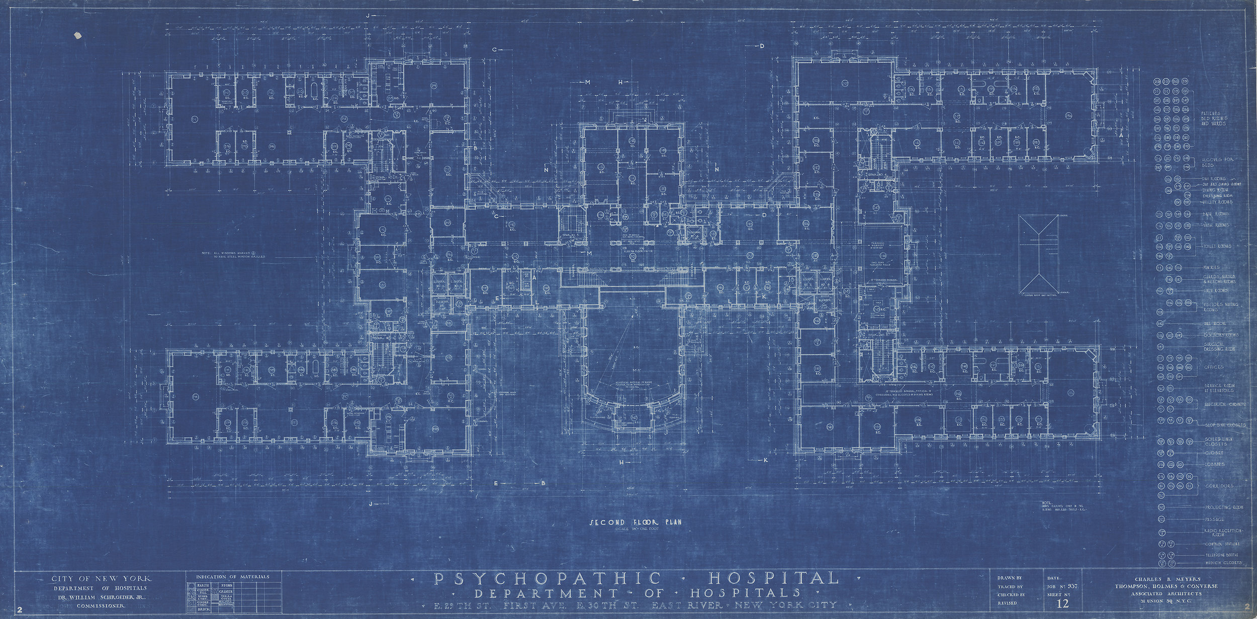 Second Floor Plan, Psychopathic Hospital, East 29th Street & First Avenue. Charles B. Meyers Architect. Department of Buildings Collection, NYC Municipal Archives.