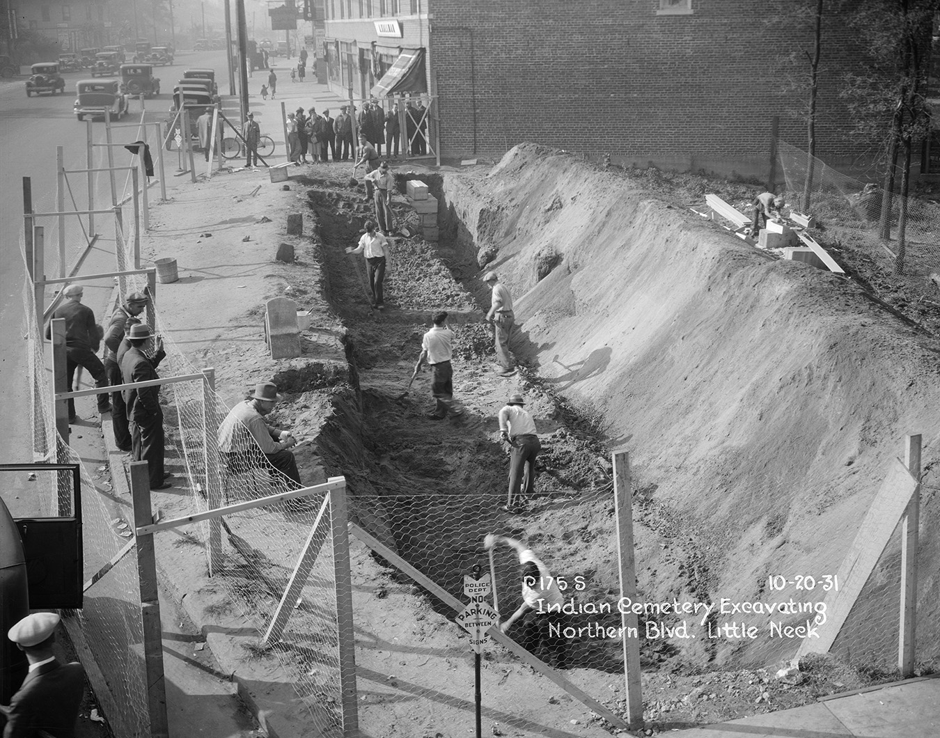 Excavating Indian Cemetery on Northern Boulevard, Little Neck, Queens, October 20, 1931. Borough President Queens Collection, NYC Municipal Archives.