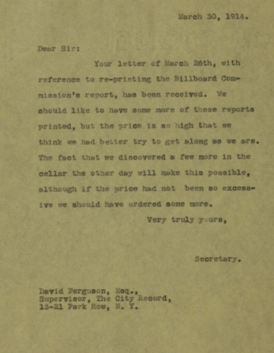 Letter from Mayor's Secretary, Arthur Woods, to David Ferguson, Supervisor of the City Records, March 26, 1914. Departmental Correspondence of Mayor Mitchel, 1914.