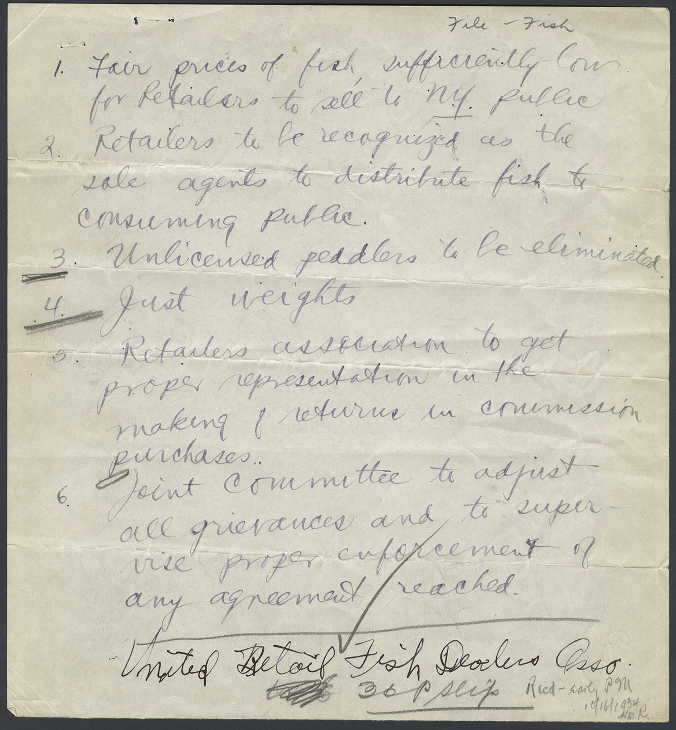 United Retail Fish Dealers Assoc. letter of demands, Oct. 16, 1934. Mayor LaGuardia Collection, NYC Municipal Archives.