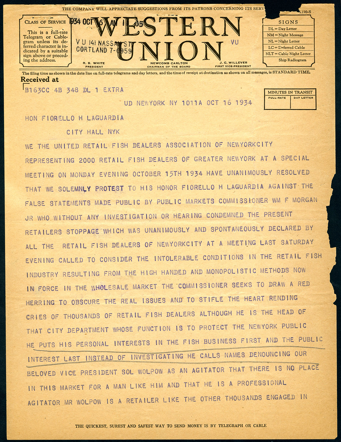 Telegram to Mayor LaGuardia from the United Retail Fish Dealers Assoc. Oct. 16, 1934. Mayor LaGuardia Collection, NYC Municipal Archives.