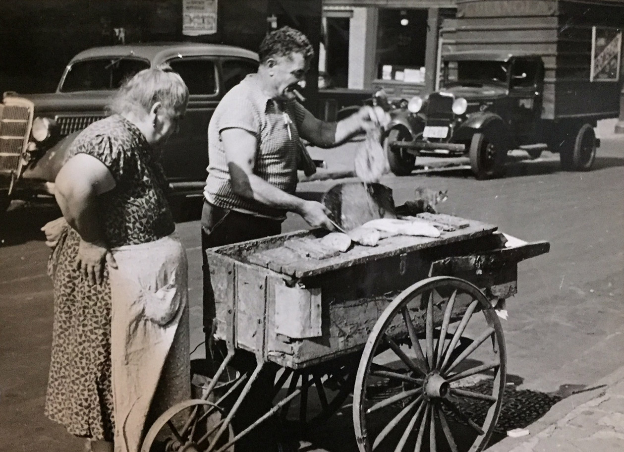 Fish vendor, August 17, 1937. Ezzes, WPA Federal Writers' Project Collection, NYC Municipal Archives.