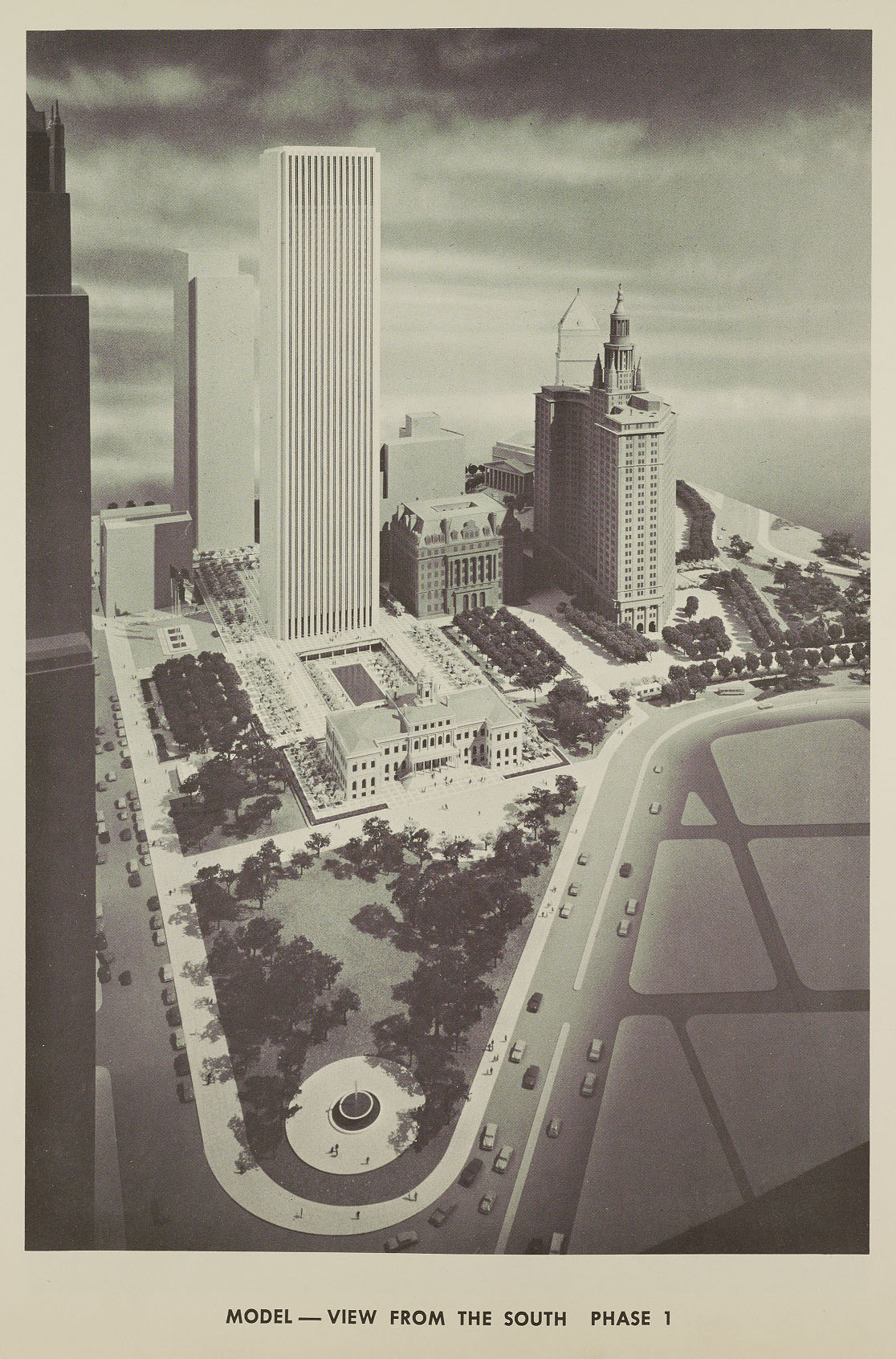Phase One of the New York Civic Center, after the destruction of the Sun Building, The Emigrant Savings Bank, and the Tweed Courthouse. NYC Municipal Archives.