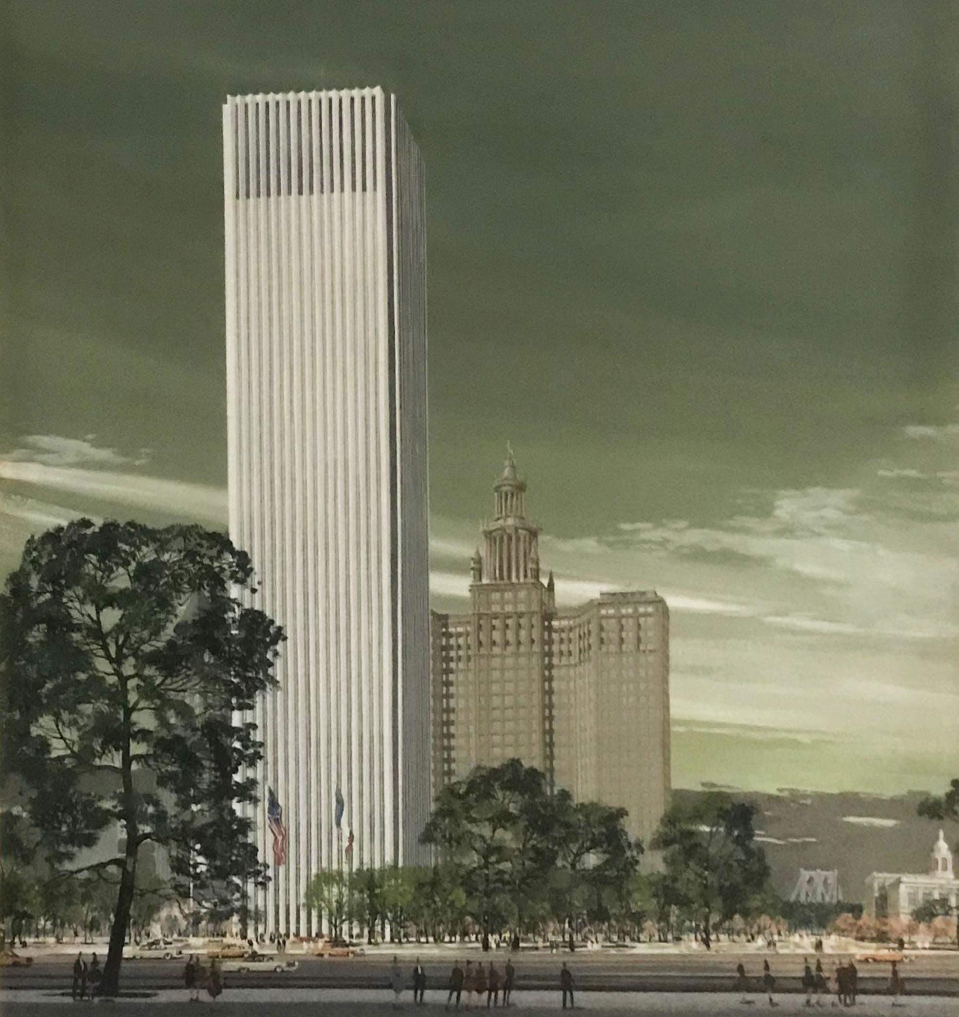 New York Civic Center plan, 1964. NYC Municipal Archives.