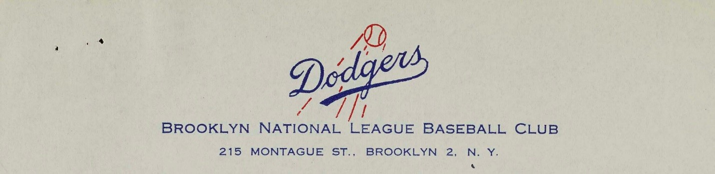 Letterhead from the Brooklyn Dodgers. Mayor Wagner Collection, NYC Municipal Archives.
