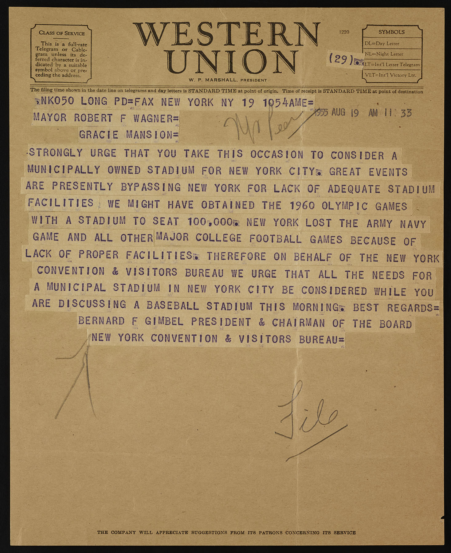 Telegram from Bernard Gimbel to Mayor Wagner in support of a new stadium. Mayor Wagner Papers, NYC Municipal Archives.