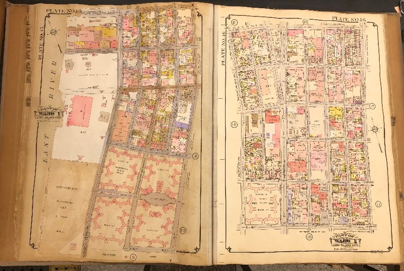 One of the map books used to create the tax photo metadata. Queens, Vol. 1, Double Page No.15, Long Island City, E. Belcher Hyde Map Company.