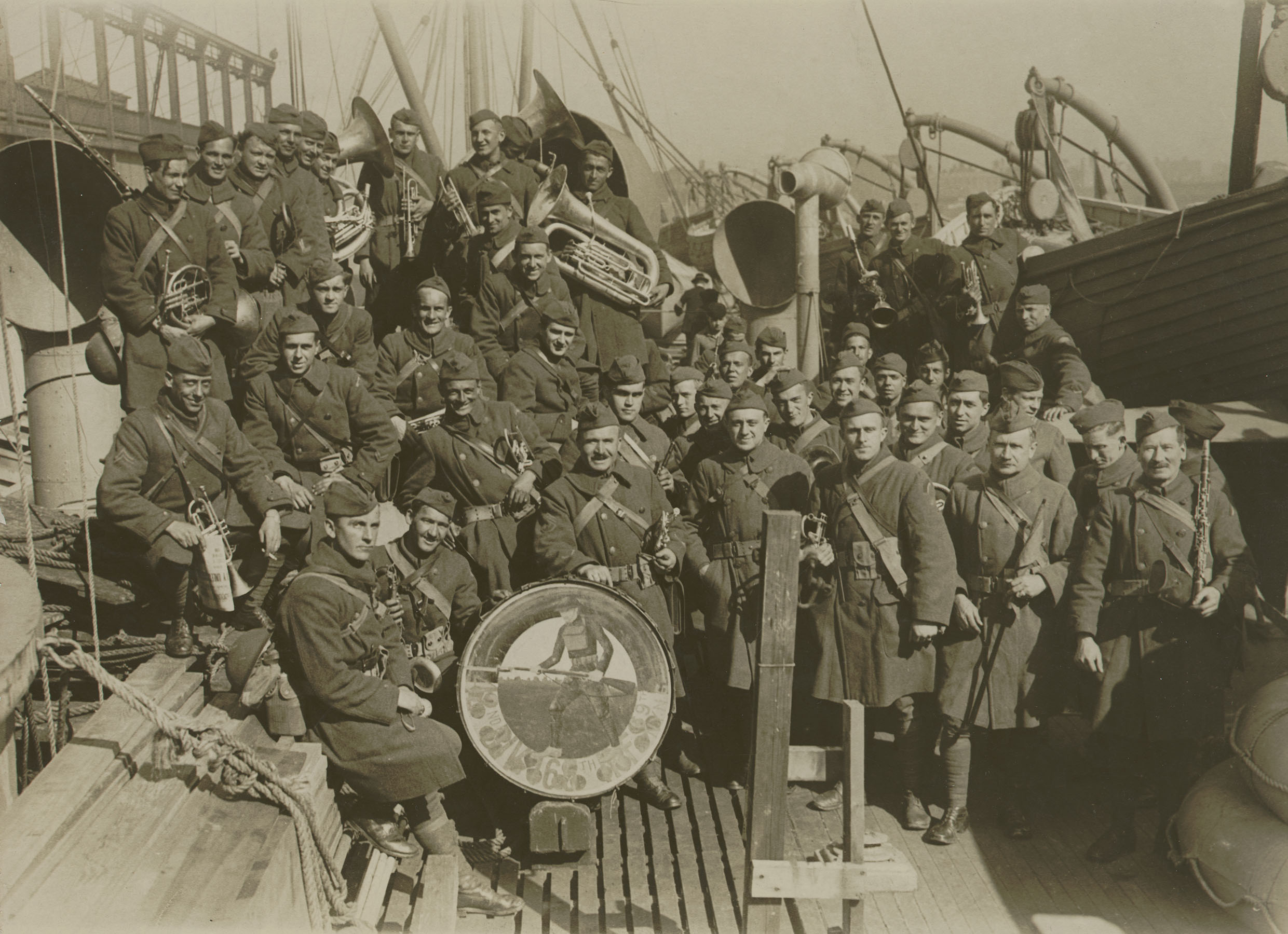 Army Band, 42nd Division, 165th Infantry, 69th N.Y., 1919. Underwood & Underwood. Mayor's Reception Committee, NYC Municipal Archives.