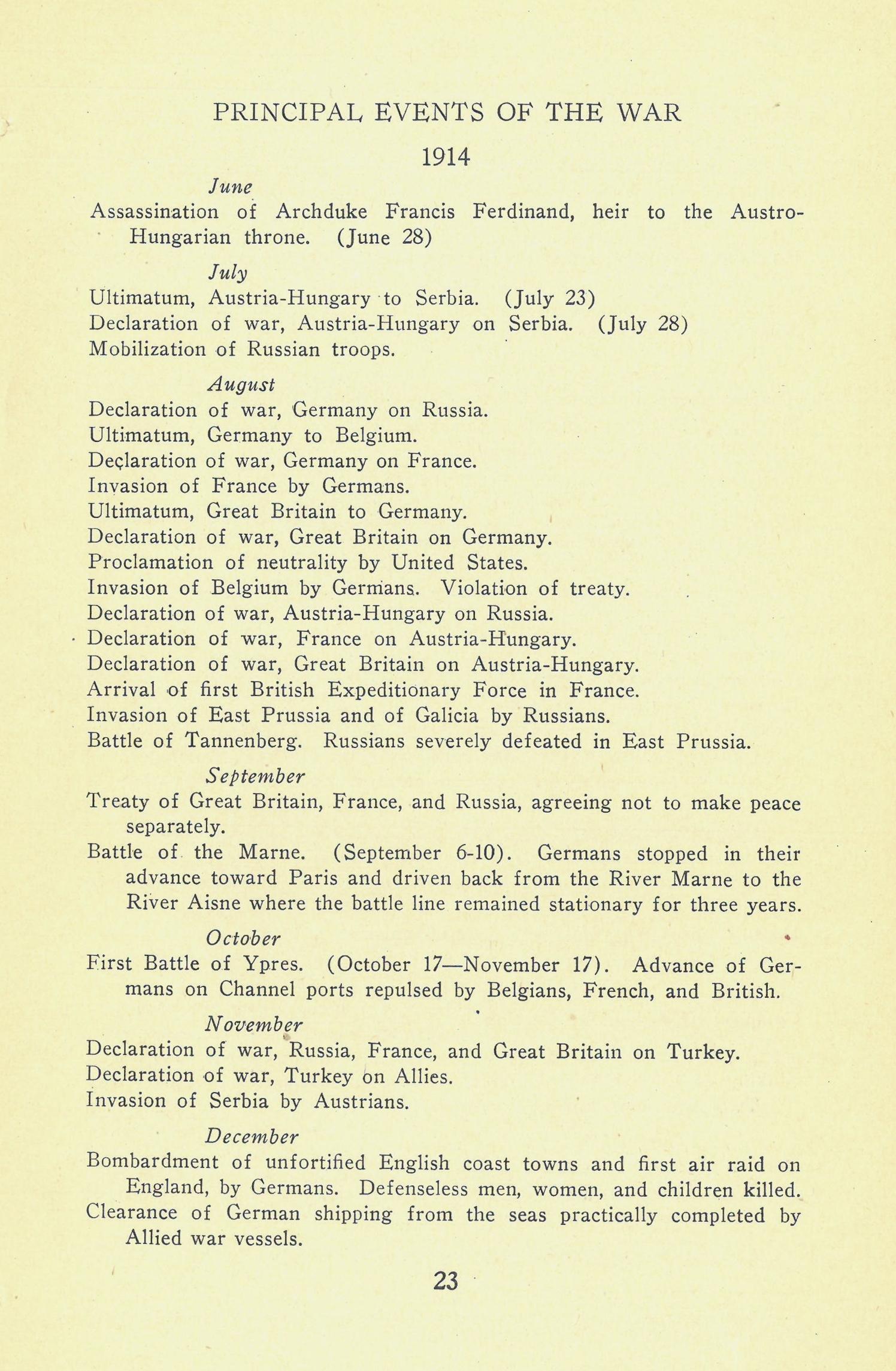 World War I history syllabus, June 1918. NYC Municipal Library.